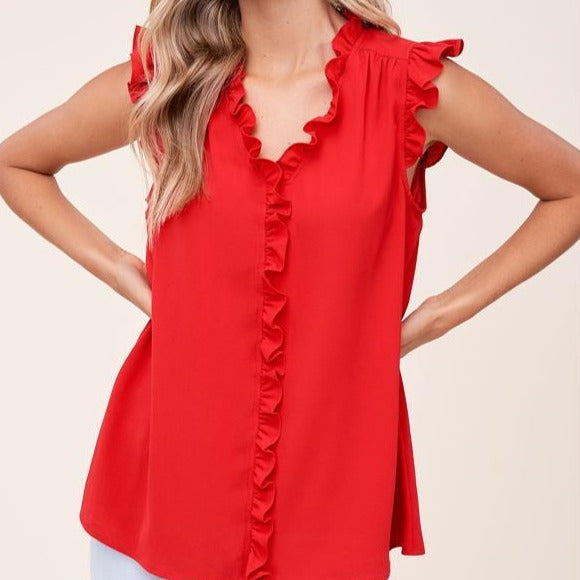 STACI'S RED HOT RUFFLE TOP
