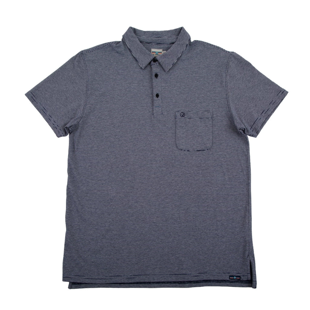 THE BEST-EVER POLO NAVY/WHITE STRIPED