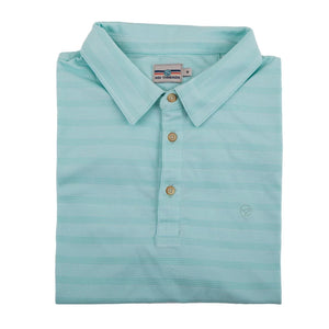 EVERYWHERE SAND TECH POLO AQUA/WHITE LINE-UP STRIPES