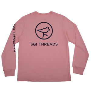 DISTRESSED SGI THREADS LONG-SLEEVE TEE PINK/NAVY