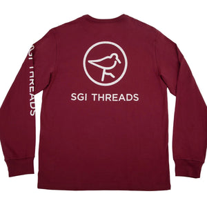 DISTRESSED SGI THREADS LONG-SLEEVE TEE GARNET/WHITE