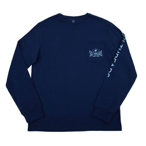 COASTAL MADE LONG-SLEEVE TEE NAVY/LIGHT BLUE