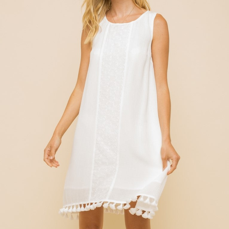 HALLIE'S EYELET PANEL FRONT TASSEL TRIMMED BTTM HEM DRESS