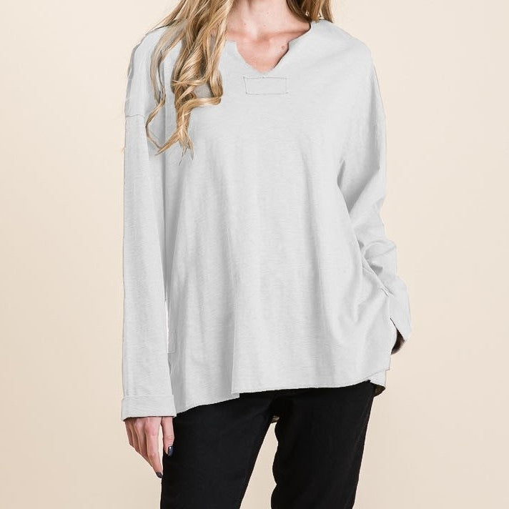 CALLIE'S WASHED COTTON SLUB TOP