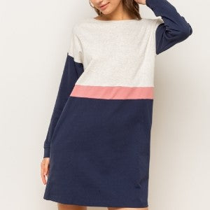 HALLIE'S COLOR BLOCK LONG SLEEVE SWEATSHIRT DRESS WITH POCKETS