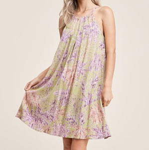 STACI'S PLEATED HALTER NECK, A-LINE, FLORAL DRESS