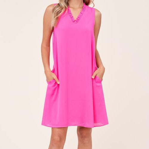 STACI'S PINK SLVLESS RUFFLE V-NECK DRESS