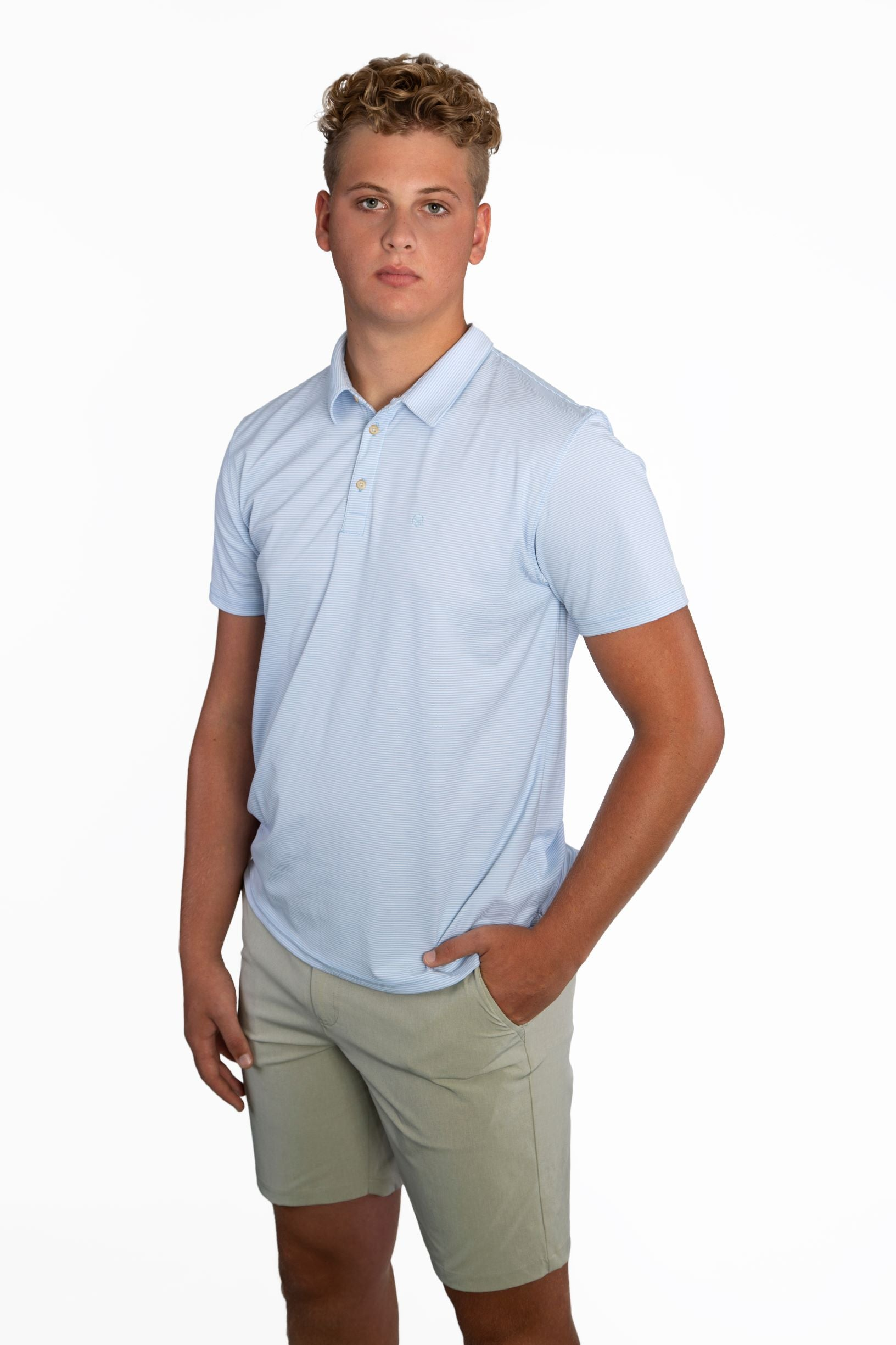 EVERYWHERE SAND TECH POLO BLUE/WHITE MICORSTRIPES