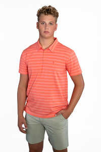 EVERYWHERE SAND TECH POLO CORAL/WHITE LINE-UP STRIPES