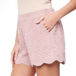 LACY'S BRICK GINGHAM SHORTS SCALLOPED HEM