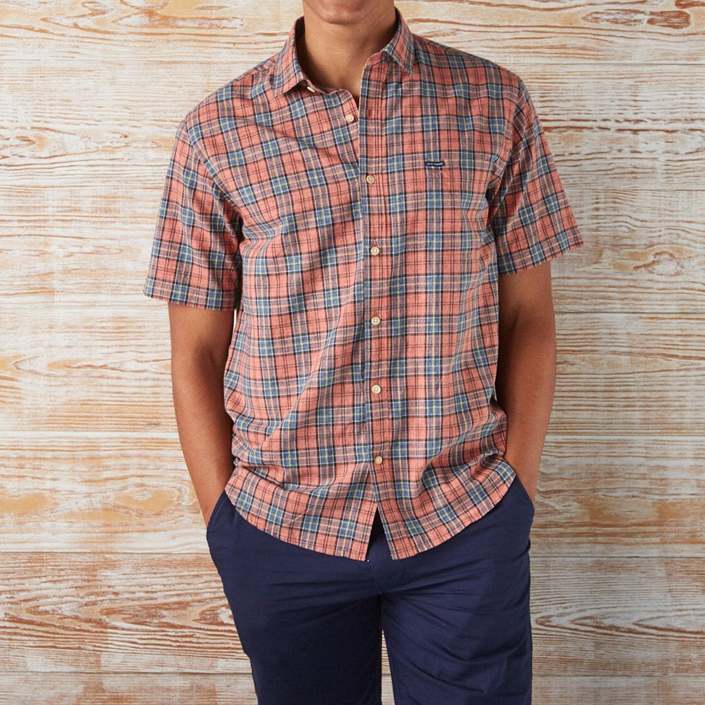 BUTTON-DOWN-FOR-ANYTHING PLAID SHORT-SLEEVE SHIRT