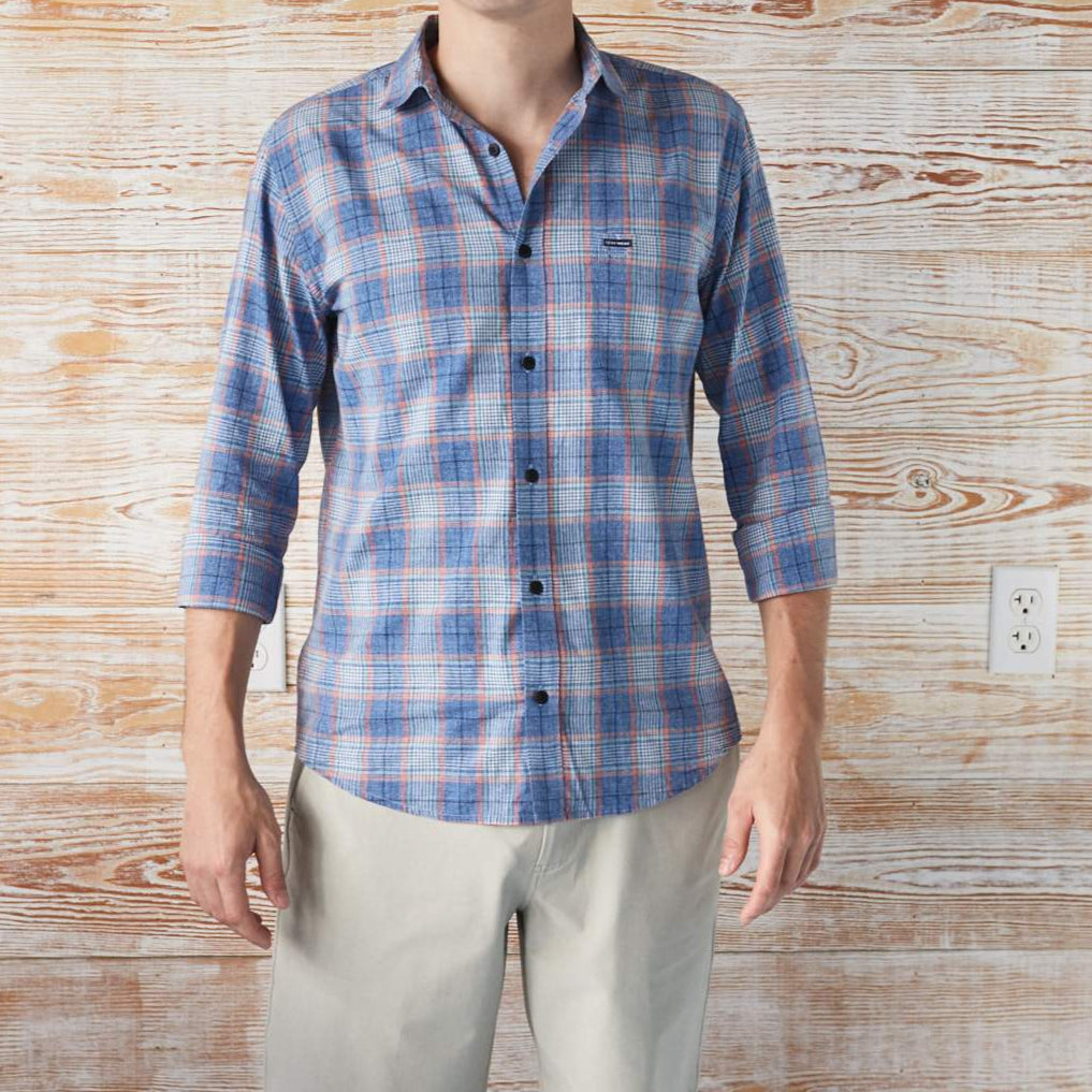BUTTON-DOWN-FOR-ANYTHING BLUE HEATHER LONG-SLEEVE SHIRT