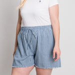 CALLIE'S CURVY STRIPE DENIM SHORTS