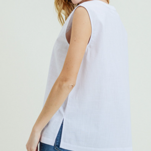 CALLIE'S WASHED LINEN SLEEVELESS TOP