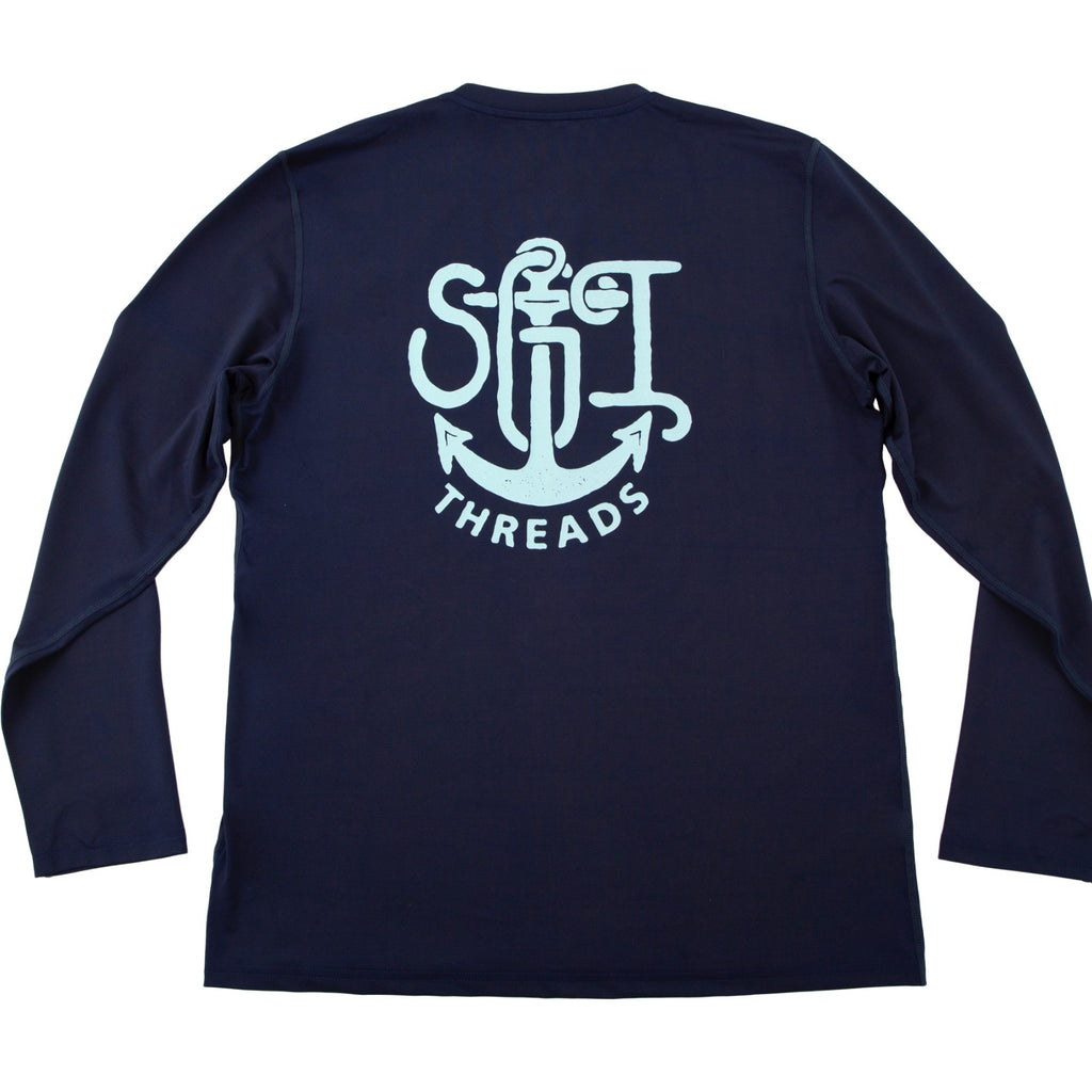 EVERYWHERE SAND TECH LONG-SLEEVE TEE NAVY ANCHOR