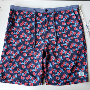 NEVER-BORED BOARDSHORTS RED FLOWER POWER