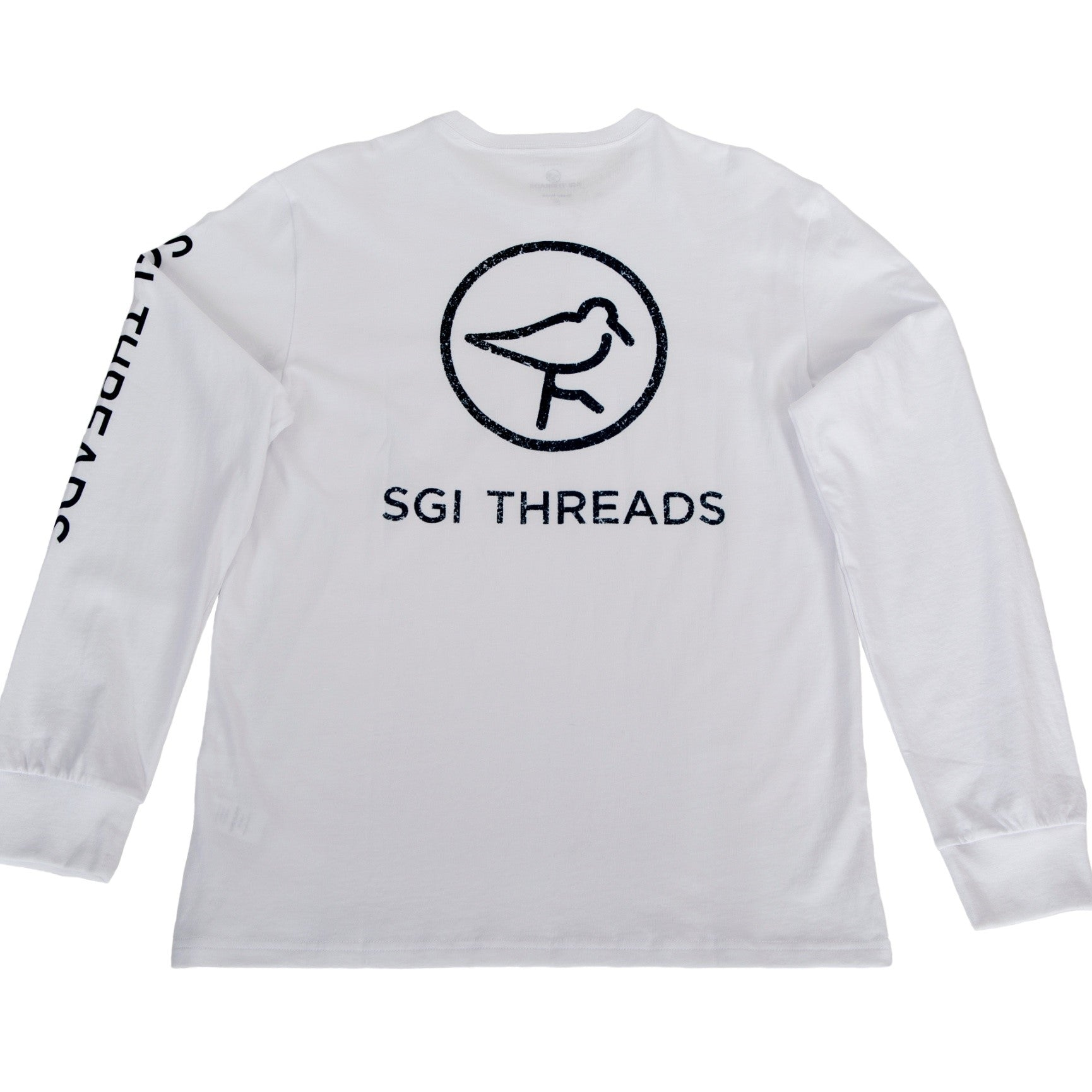 DISTRESSED SGI THREADS LONG-SLEEVE TEE WHITE/NAVY