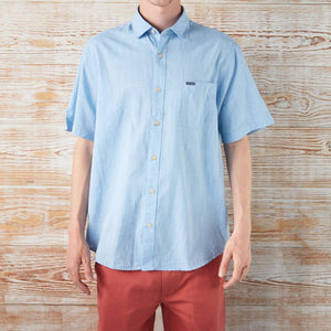 BUTTON-DOWN-FOR-ANYTHING COTTON/LINEN SHORT-SLEEVE SHIRT BLUE