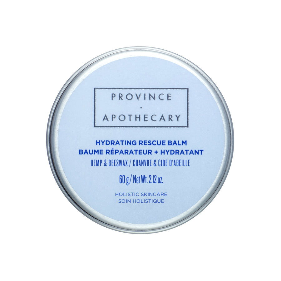 Hydrating rescue balm in container for all skin types against white background