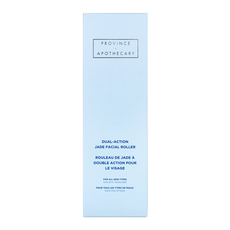 pale blue packaging of jade facial roller