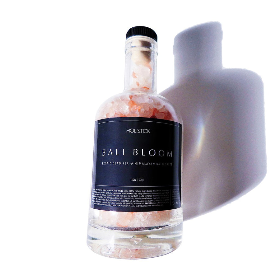 Bali Bloom bottle dead sea, pink Himalayan and epsom salts