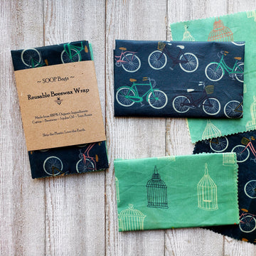 eco-friendly reusable beeswax wrap in blue and green