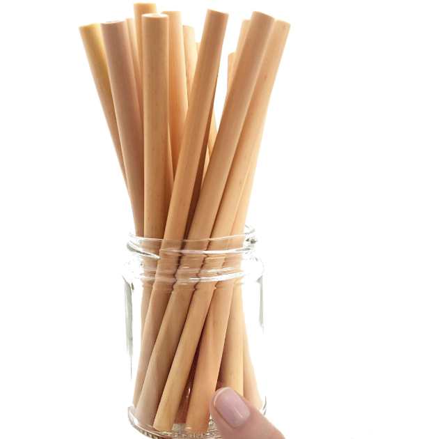 Biodegradable bamboo straws in a transparent jar