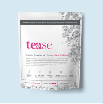 white ethical tea pouch with floral design