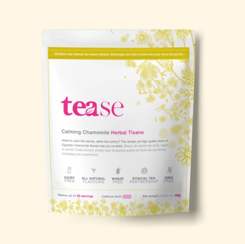 Ethical tea in yellow pouch with floral patterns
