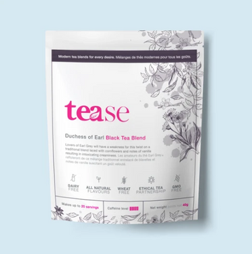 Sustainable tea pouch in white with lilac floral designs