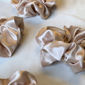 Sustainable champagne colored satin silk scrunchies