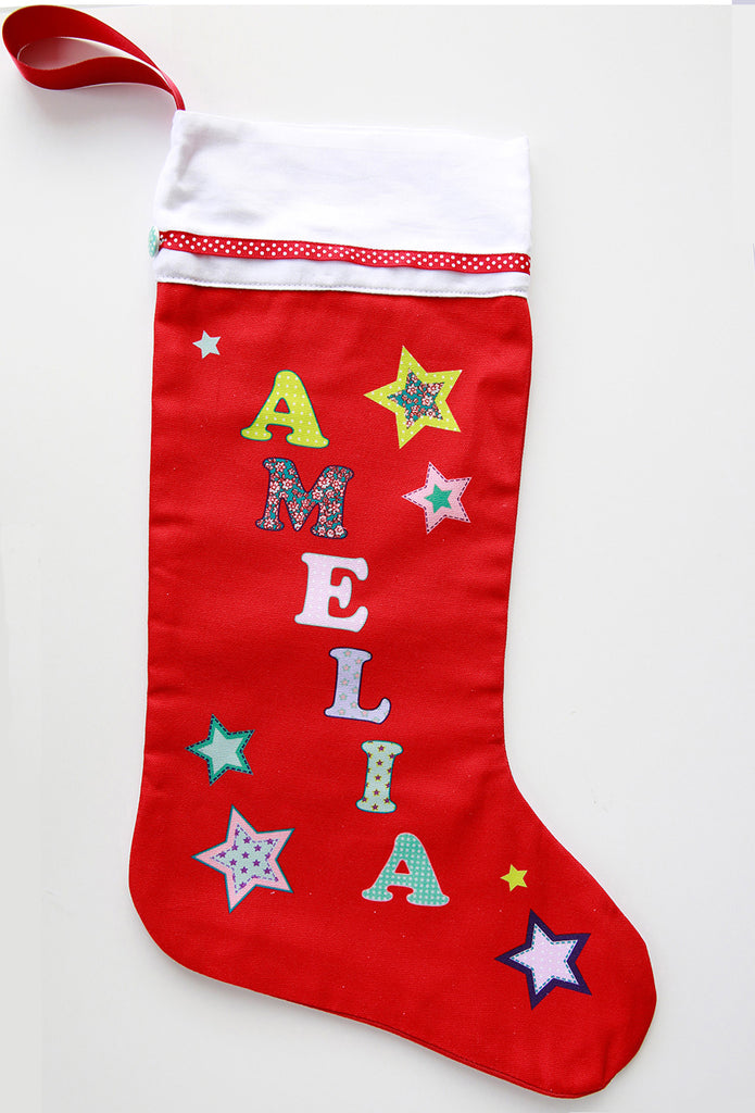 girls names personalised printed cotton christmas stocking - Girls Christmas Stocking