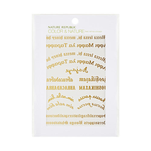 [NATURE REPUBLIC] Colr & Nature Fake Tattoo Sticker #1 Gold Lettering