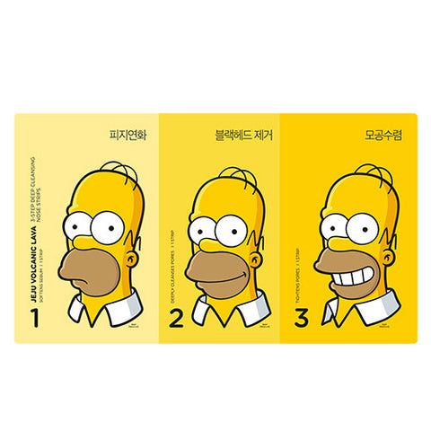[THE FACE SHOP] Jeju Volcanic Lava 3 Step Deep Cleansing Nose Strips (The Simpsons)