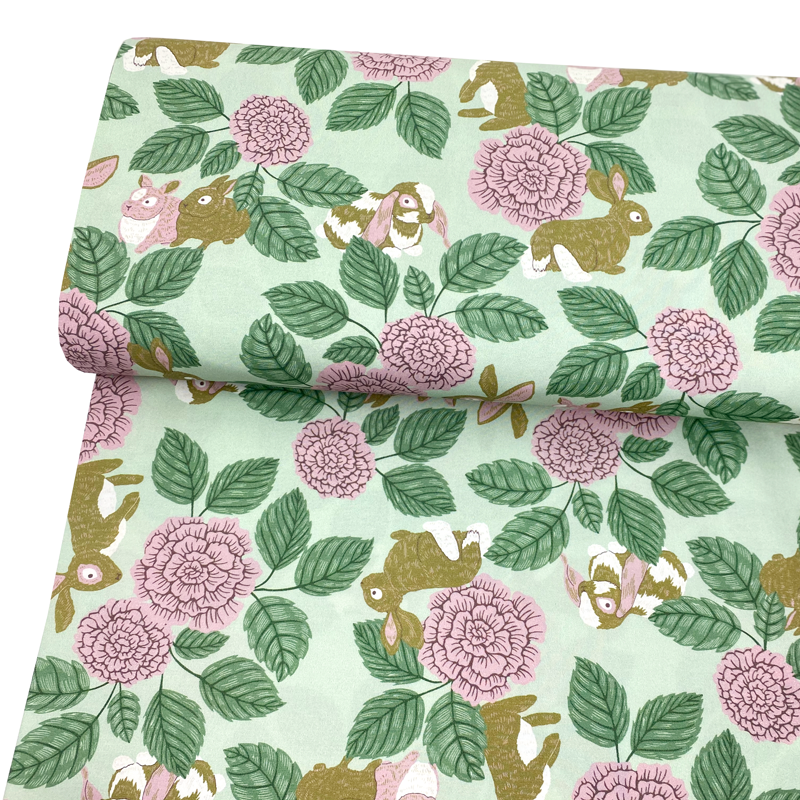 Poplin Rabbit Rose Green