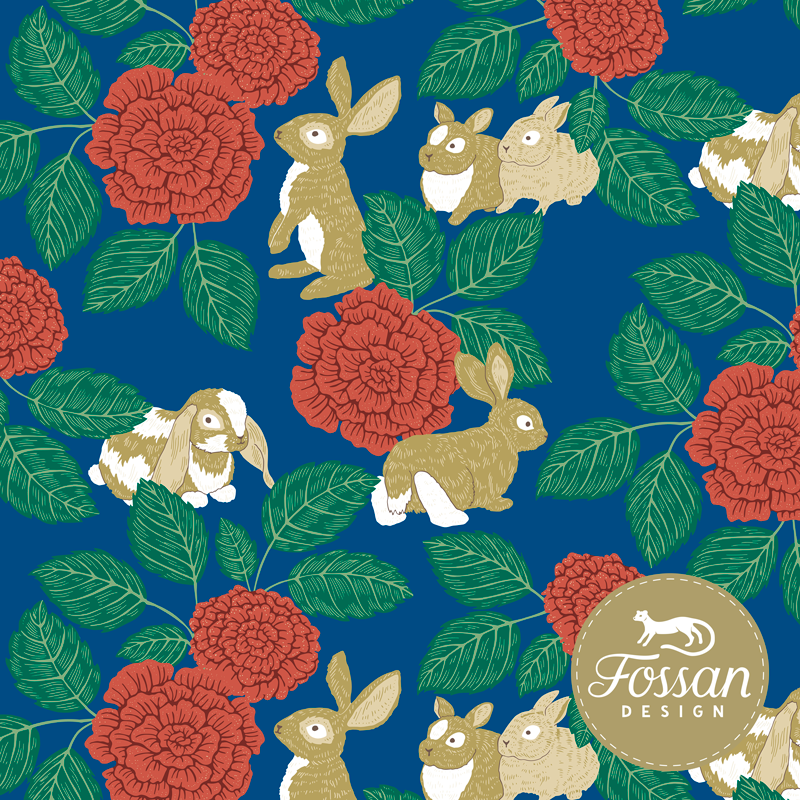 Jersey Rabbit Rose Blue