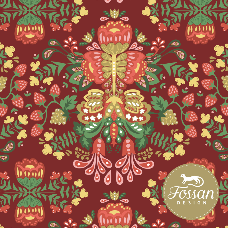 Poplin Folk Art Red