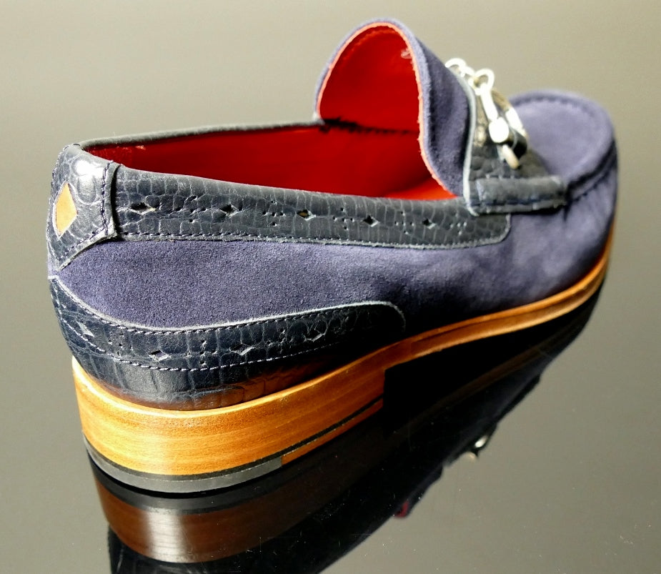 Handcuff Loafer Navy Suede