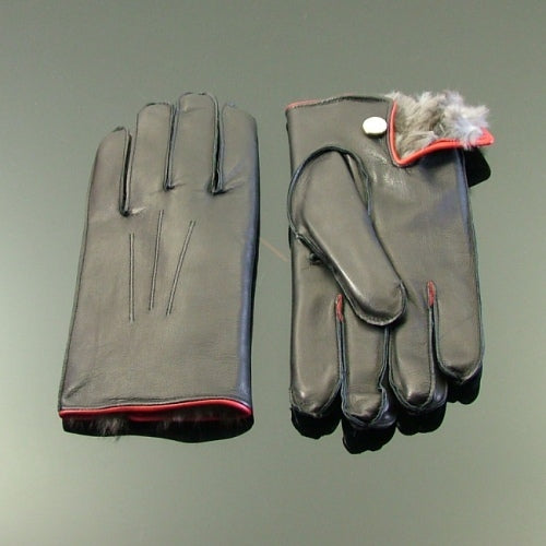 Coney Fur Lined Leather Gloves - Black