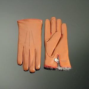 Coney Fur Lined Leather Gloves - Tan