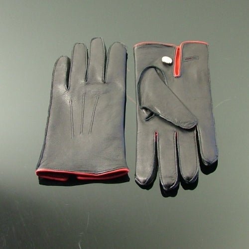 Silk Lined Leather Driving Gloves - Black