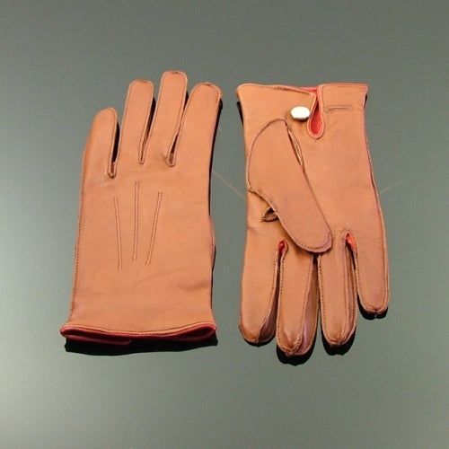 Silk Lined Leather Driving Gloves - Tan