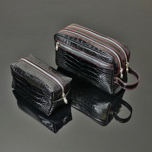 'The Unconventional' Washbag - Embossed Black Croc