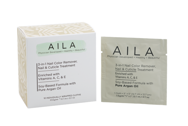 AILA - 3-In-1 Soy-Based Nail Colour Remover Cloths