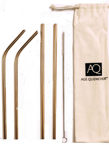 Age Quencher - Gold Stainless Steel Straws - 4 Pack