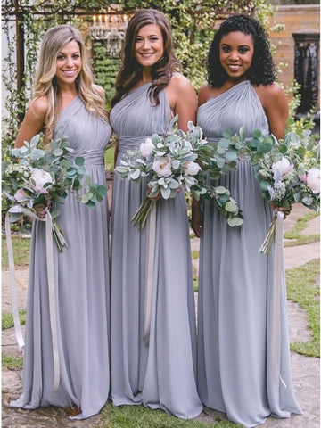 one shoulder chiffon bridesmaid dresses