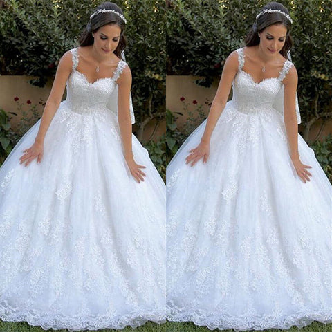 Floor Length Sleeveless Mermaid Lace Ball Gown Wedding Dresses