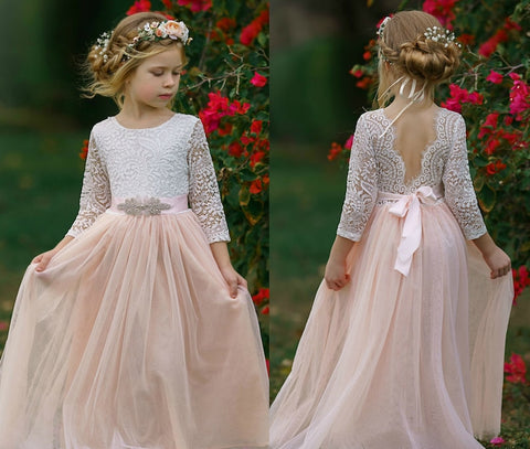 Fall Lace Flower gril dresses for girls