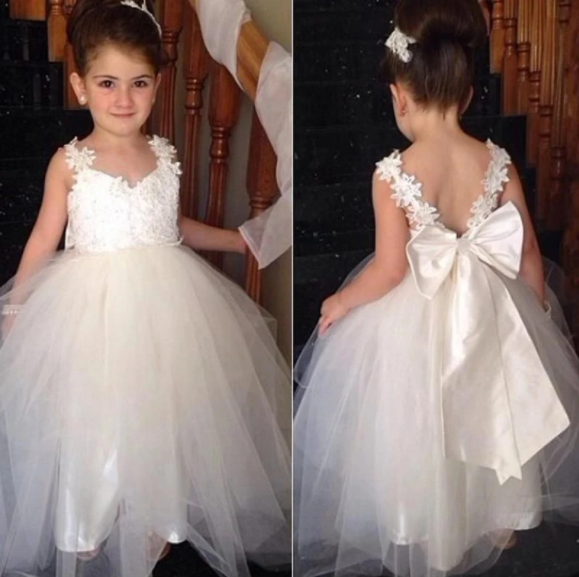 Sexy Lace Tulle Ivory Flower Girl Dresses Open Back