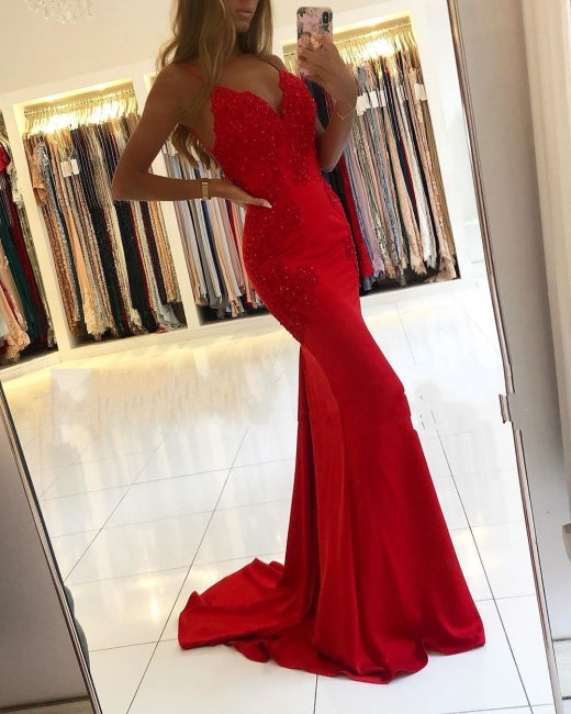 Red Lace Prom Dresses Spaghetti Straps Mermaid Evening Dress